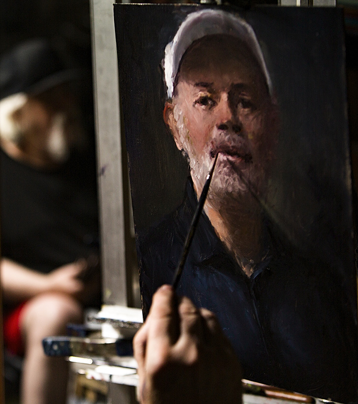 Master Style Painter Paints Portrait